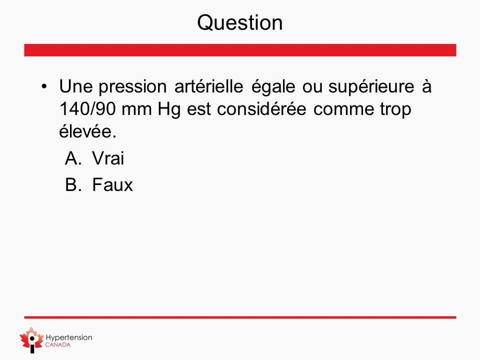Question Une pression artérielle égale ou supérieure à 140/90 mm Hg est considérée comme trop élevée.