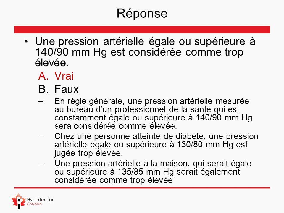 Réponse Une pression artérielle égale ou supérieure à 140/90 mm Hg est considérée comme trop élevée.