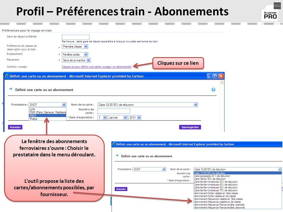 Profil – Préférences train - Abonnements