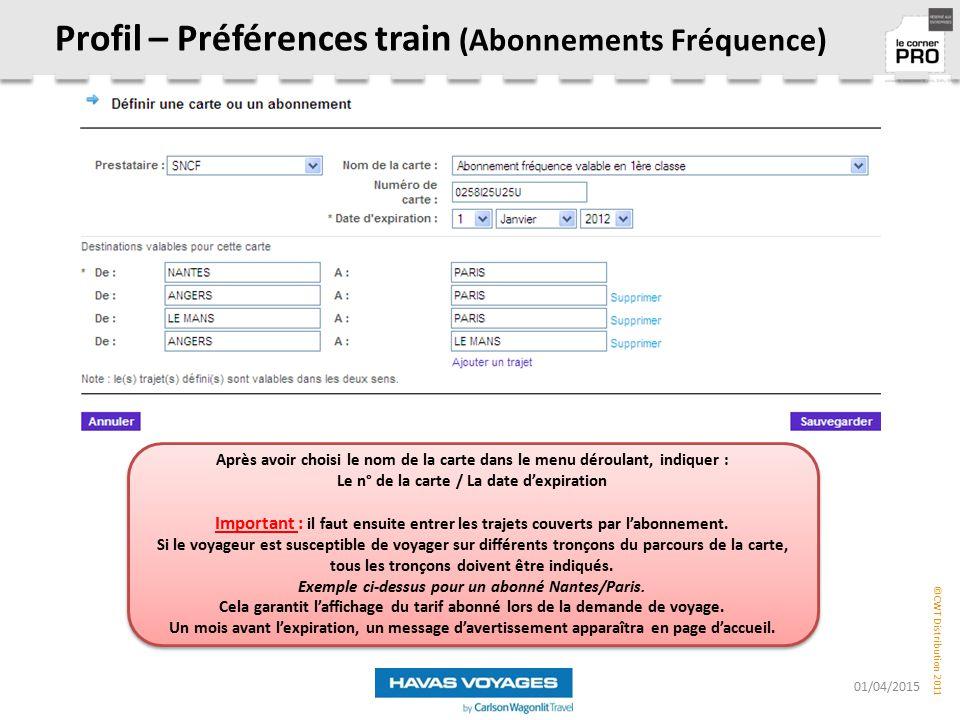 Profil – Préférences train (Abonnements Fréquence)