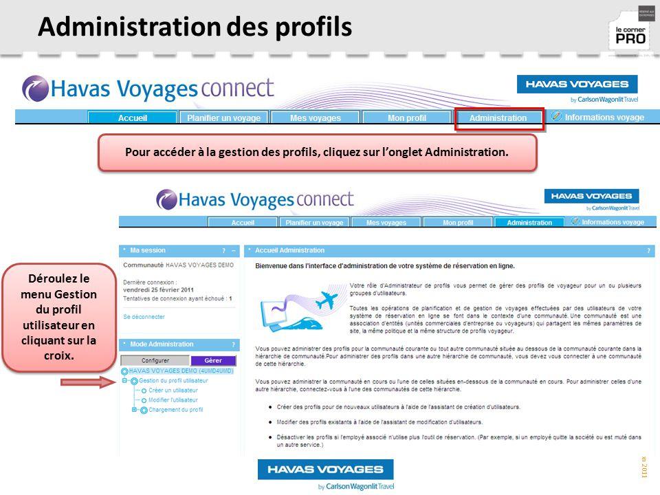 Administration des profils