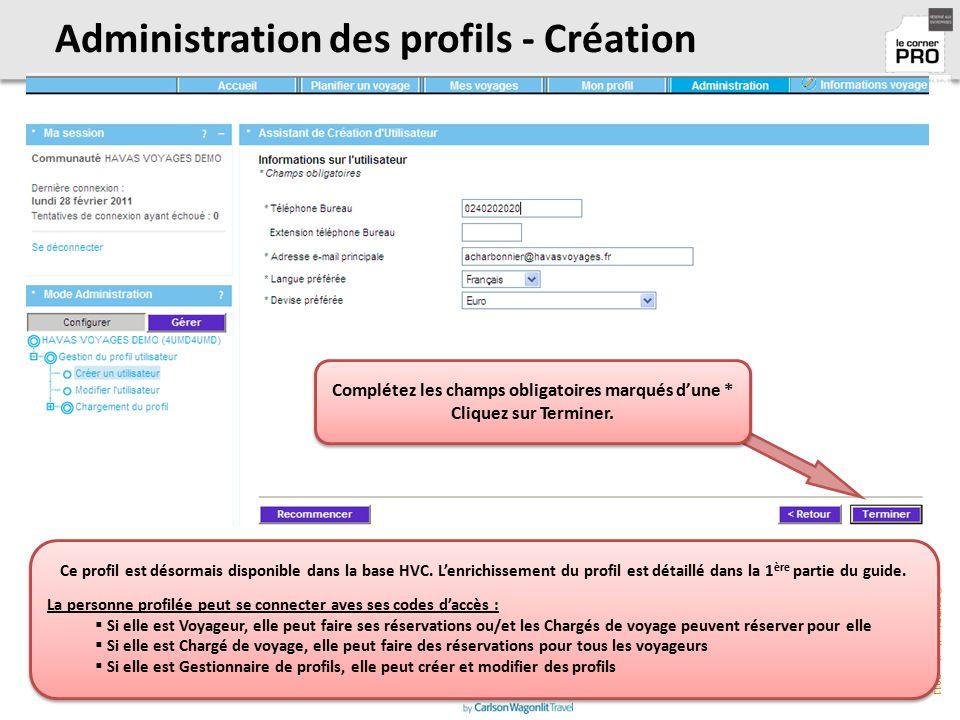 Administration des profils - Création