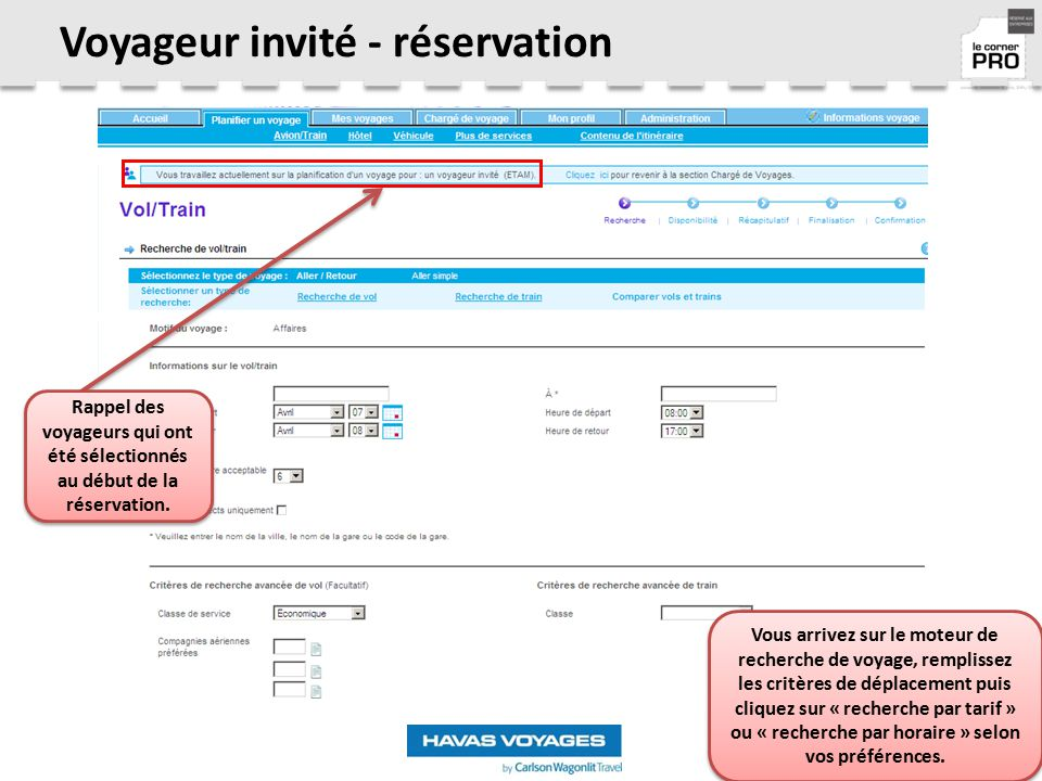 Voyageur invité - réservation