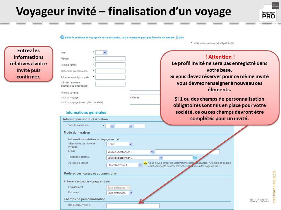 Voyageur invité – finalisation d'un voyage