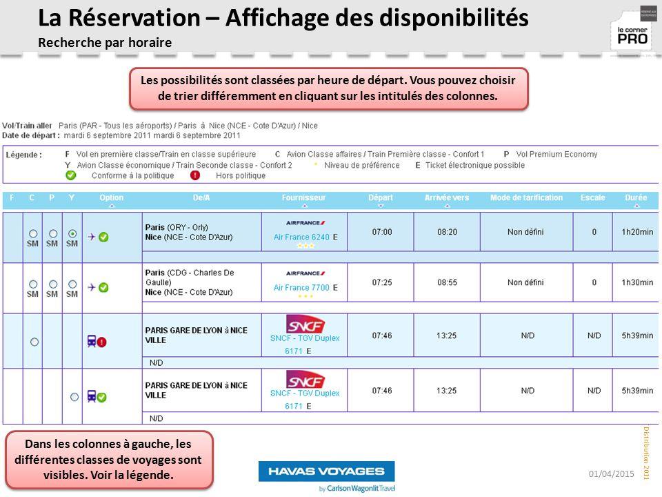 La Réservation – Affichage des disponibilités Recherche par horaire