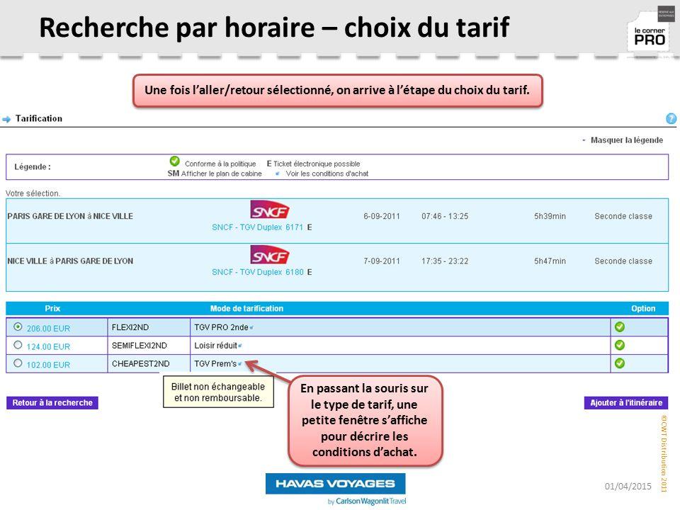 Recherche par horaire – choix du tarif