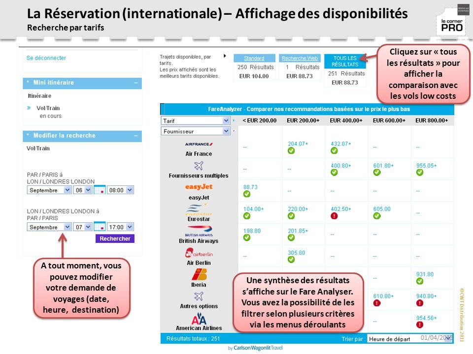 La Réservation (internationale) – Affichage des disponibilités Recherche par tarifs