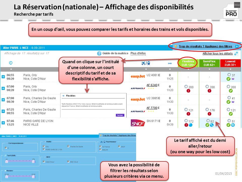 La Réservation (nationale) – Affichage des disponibilités Recherche par tarifs