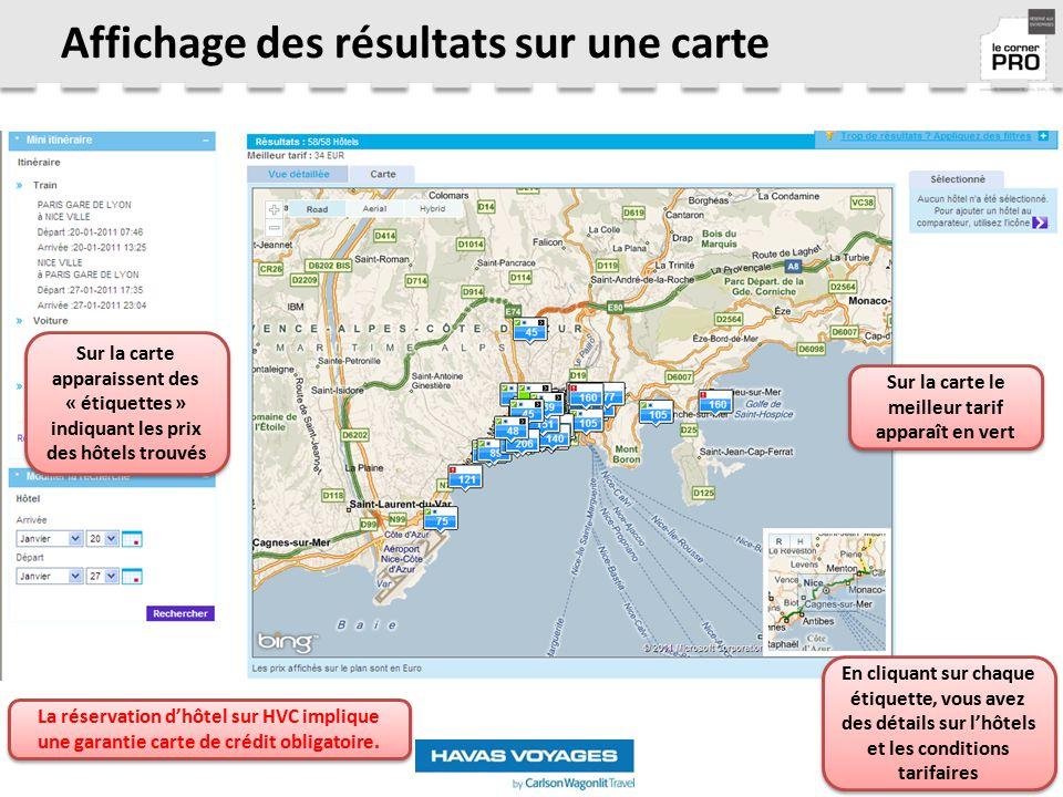 Affichage des résultats sur une carte