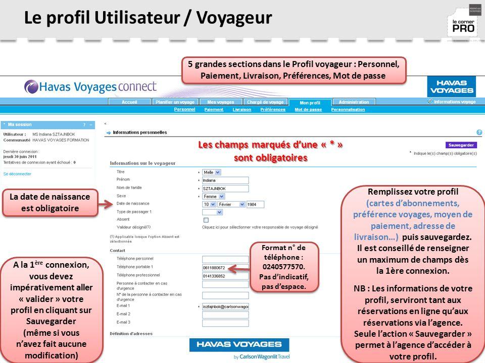Le profil Utilisateur / Voyageur