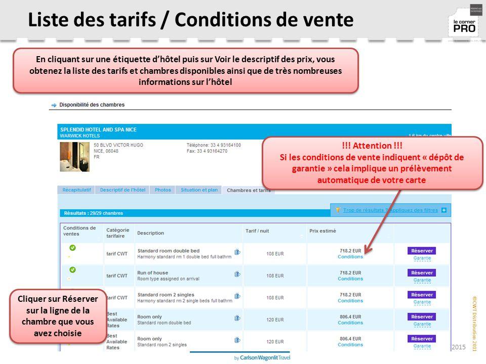 Liste des tarifs / Conditions de vente