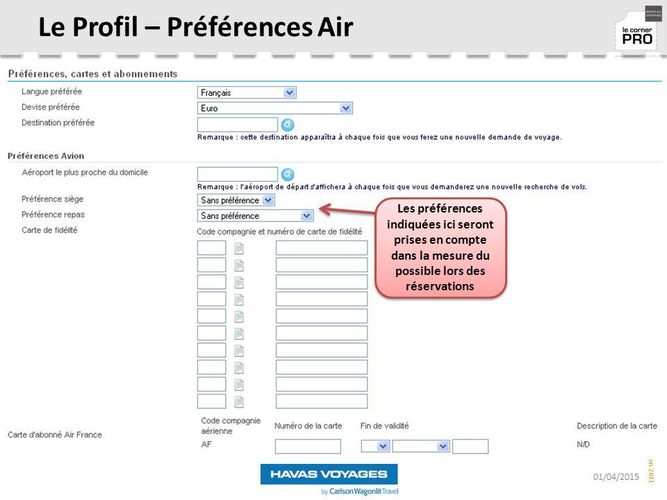 Le Profil – Préférences Air