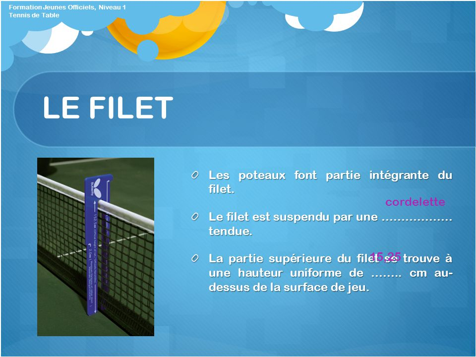Tennis de table formation jeunes officiels ppt video online t l charger - Hauteur filet tennis de table ...