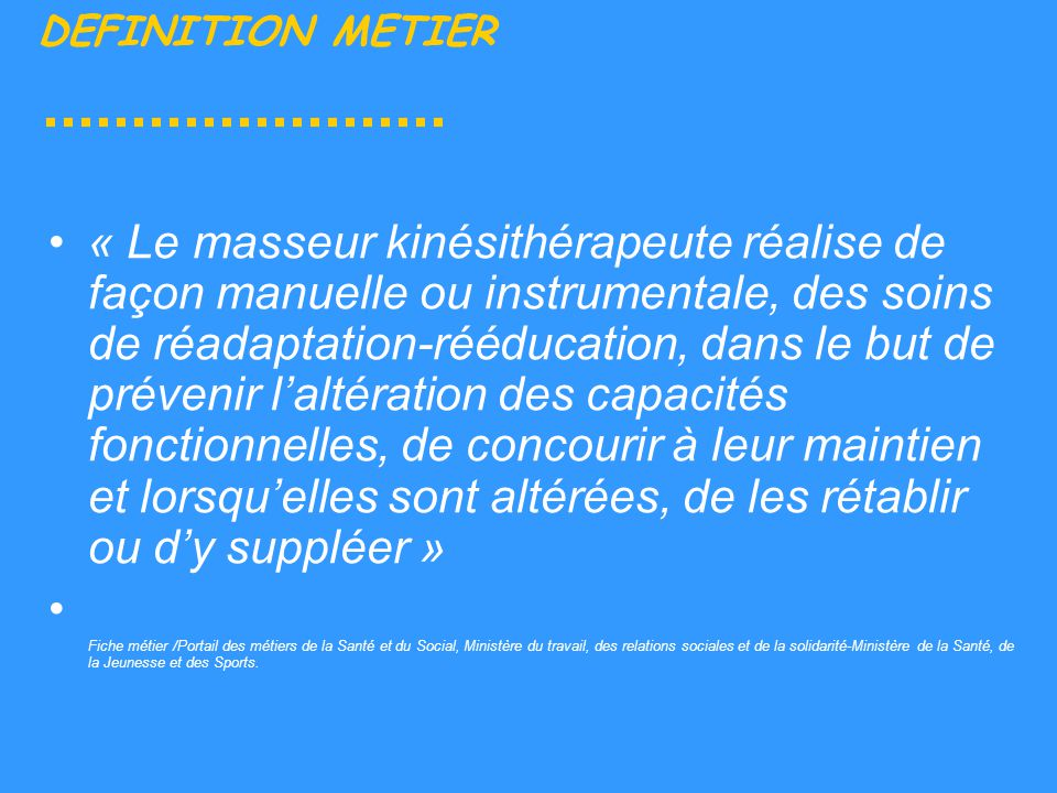 L ifmk du ch laval le m tier de masseur kin sith rapeute for Architecte definition du metier