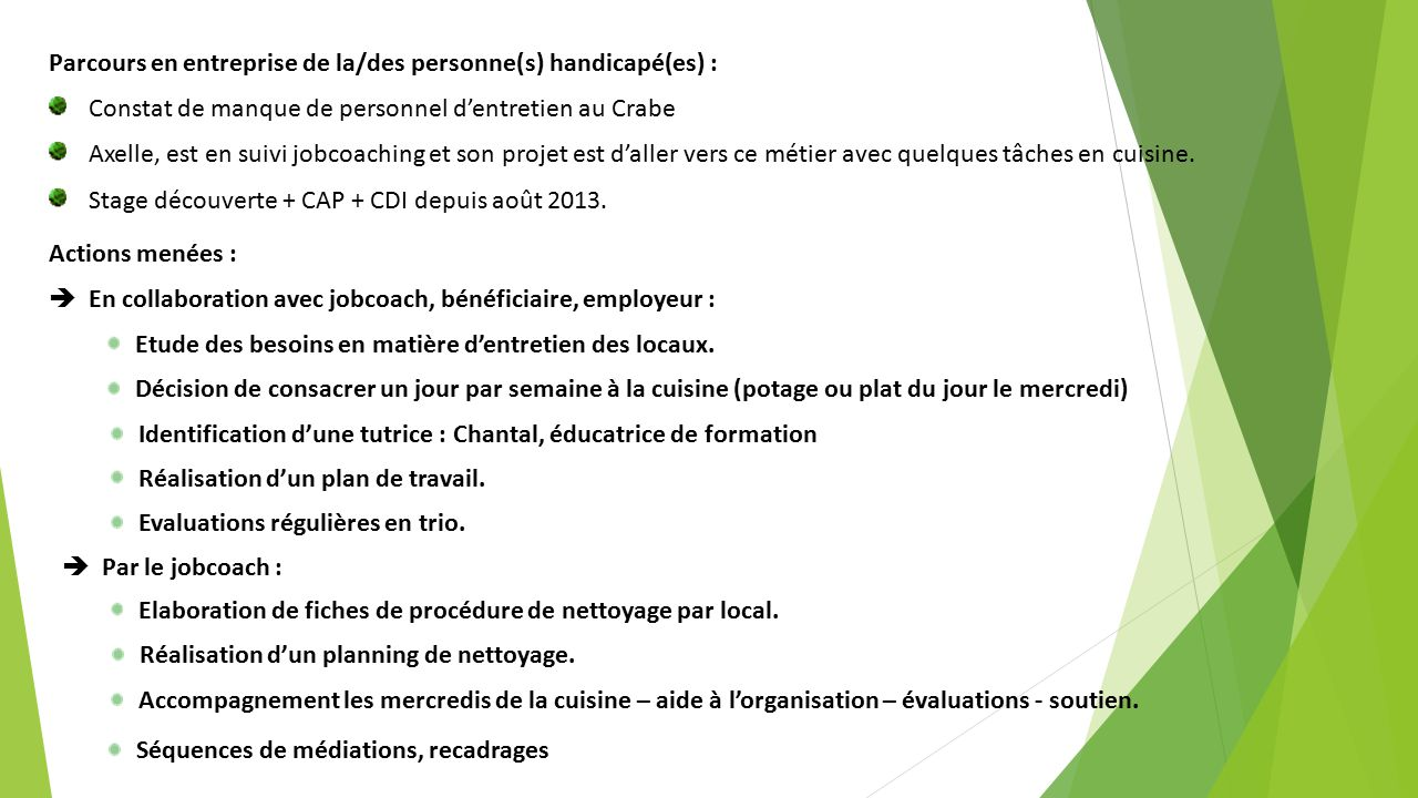 Le jobcoaching des personnes en situation de handicap ppt t l charger - Organisation du travail en cuisine ...
