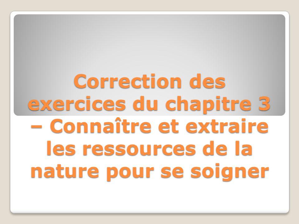 Correction des exercices du chapitre 3 – Connaître et extraire les ressources de la nature pour se soigner