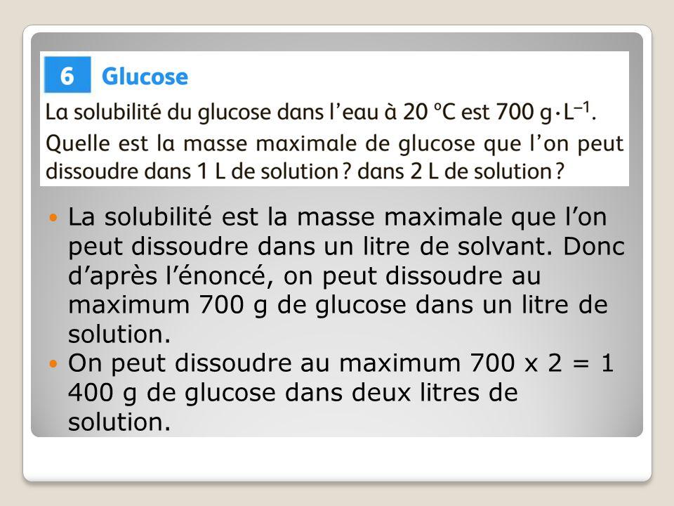La solubilité est la masse maximale que l'on peut dissoudre dans un litre de solvant. Donc d'après l'énoncé, on peut dissoudre au maximum 700 g de glucose dans un litre de solution.