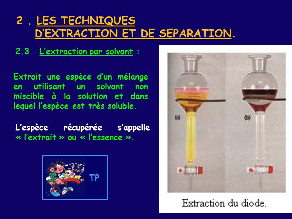 2 . LES TECHNIQUES D'EXTRACTION ET DE SEPARATION.