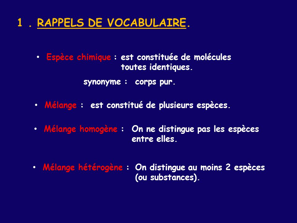1 . RAPPELS DE VOCABULAIRE.