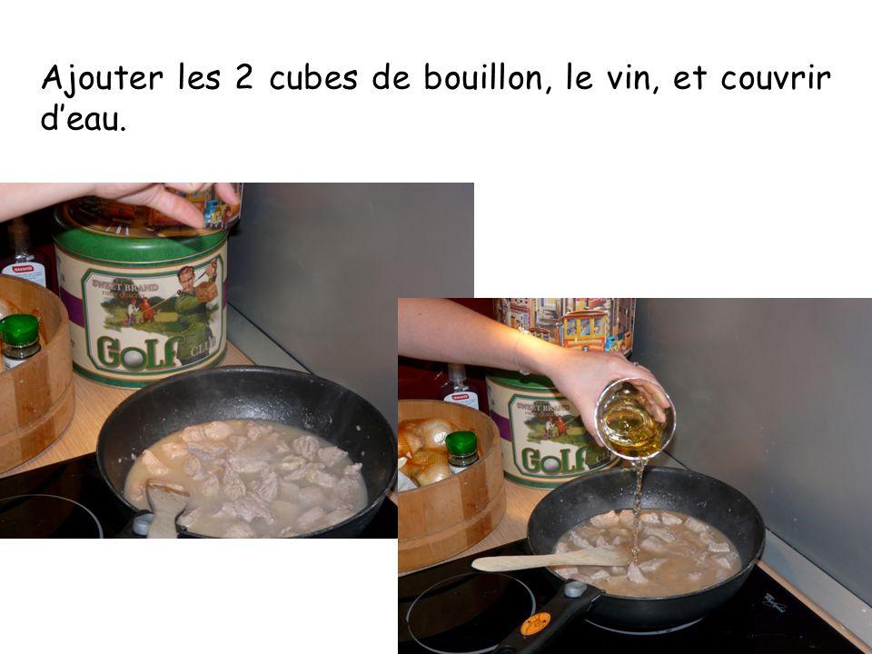 Ajouter les 2 cubes de bouillon, le vin, et couvrir d'eau.