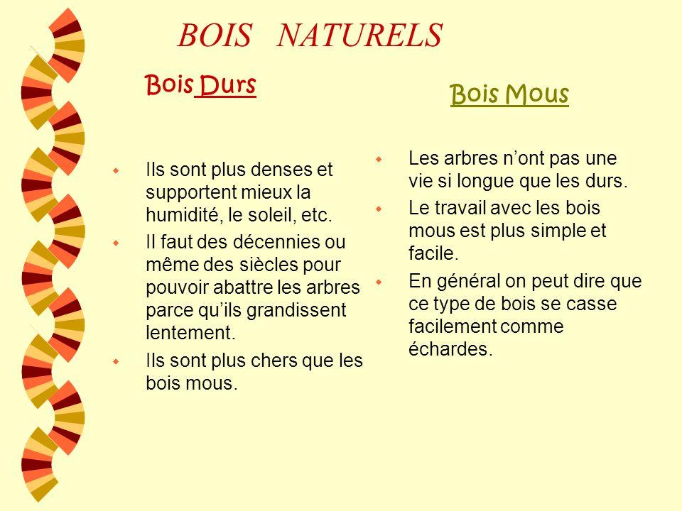 BOIS NATURELS Bois Mous Bois Durs