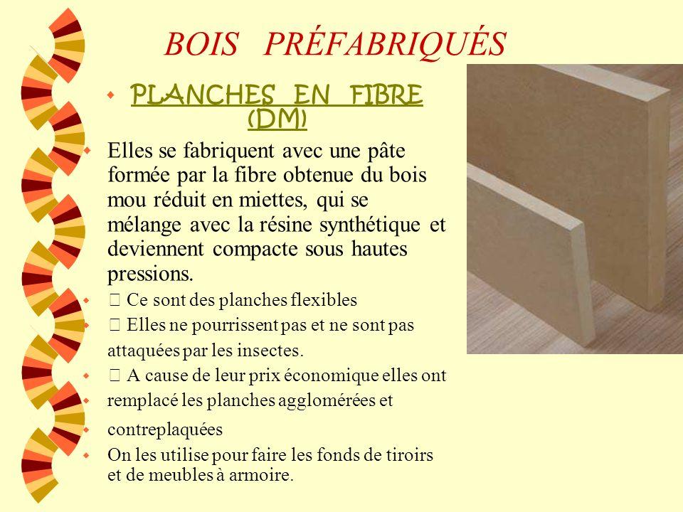 BOIS PRÉFABRIQUÉS PLANCHES EN FIBRE (DM)