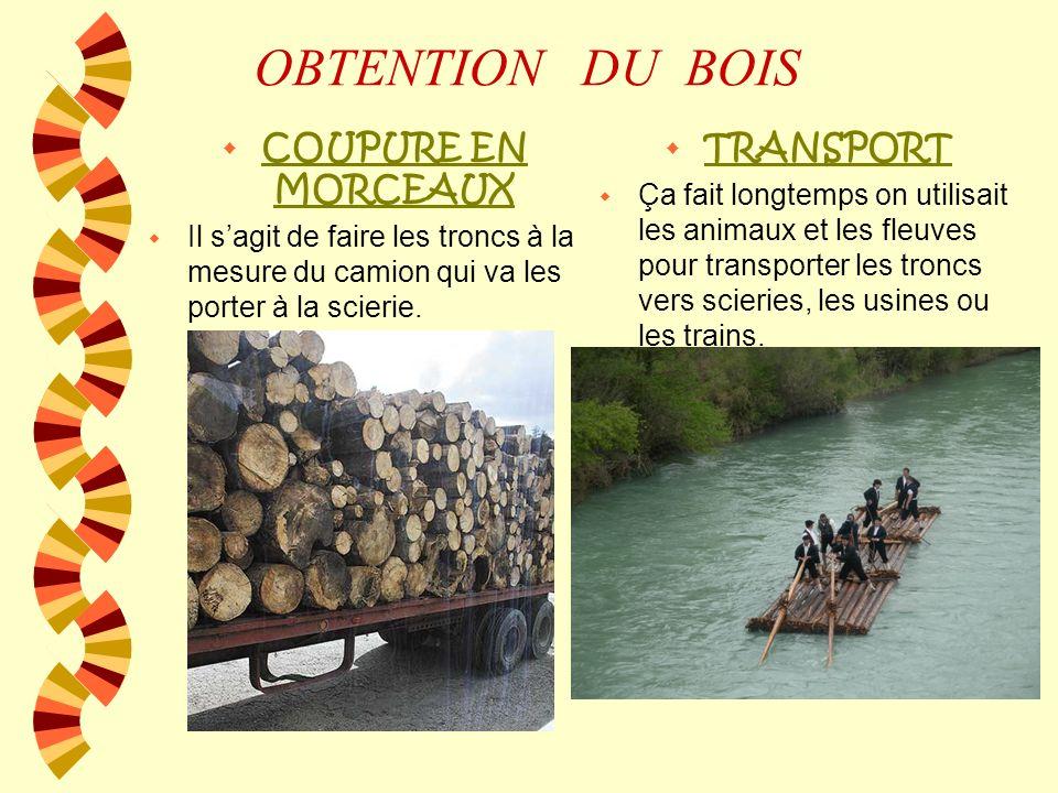 OBTENTION DU BOIS COUPURE EN MORCEAUX TRANSPORT