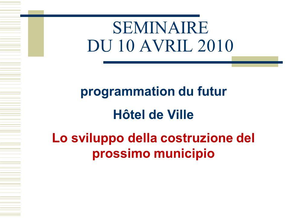 SEMINAIRE DU 10 AVRIL 2010 programmation du futur Hôtel de Ville