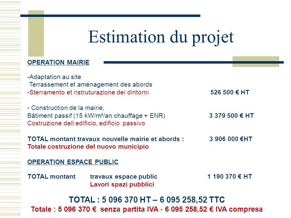 Totale : 5 096 370 € senza partita IVA - 6 095 258,52 € IVA compresa