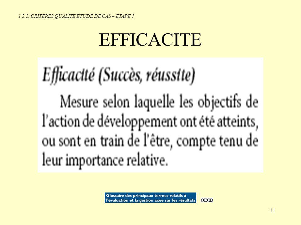 1.2.2. CRITERES QUALITE ETUDE DE CAS – ETAPE 1