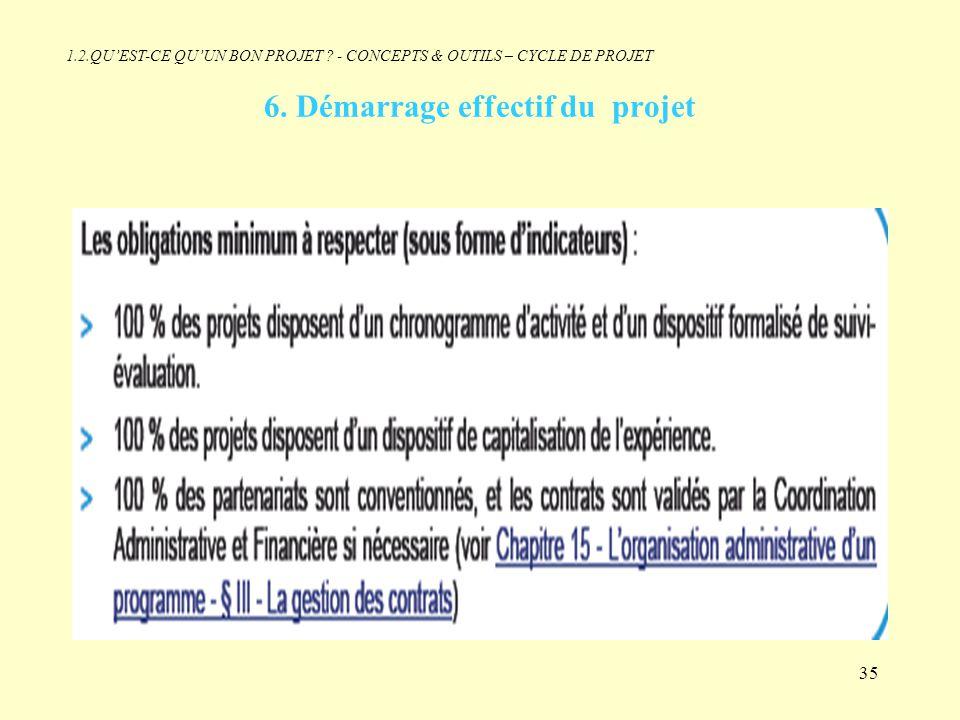 6. Démarrage effectif du projet