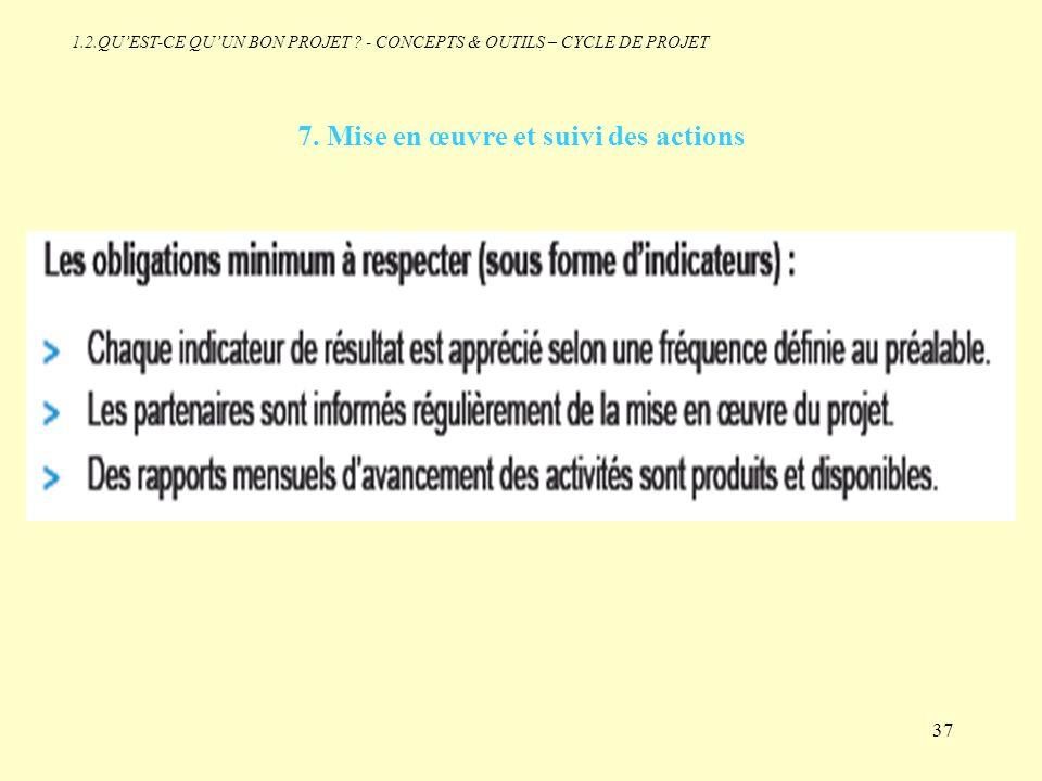 7. Mise en œuvre et suivi des actions