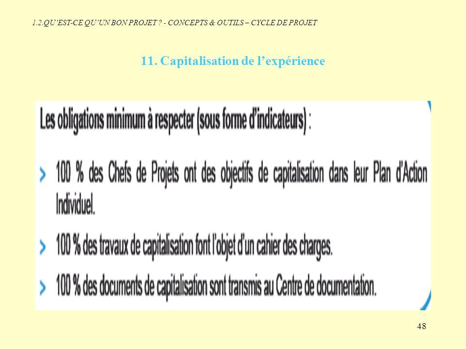 11. Capitalisation de l'expérience