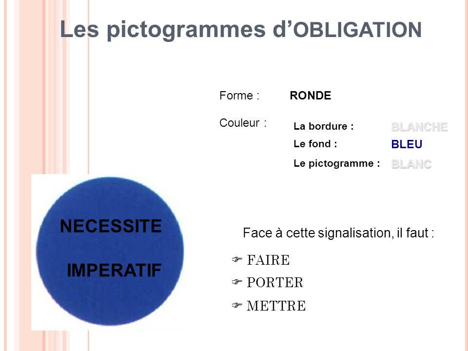 Les pictogrammes d'OBLIGATION