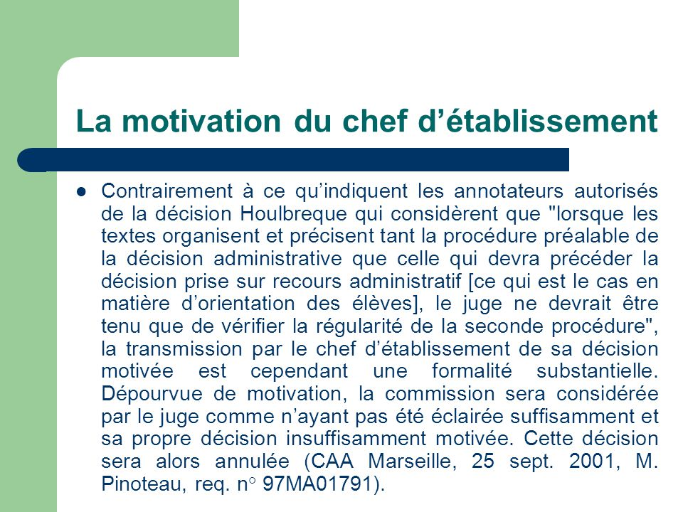 La motivation du chef d'établissement