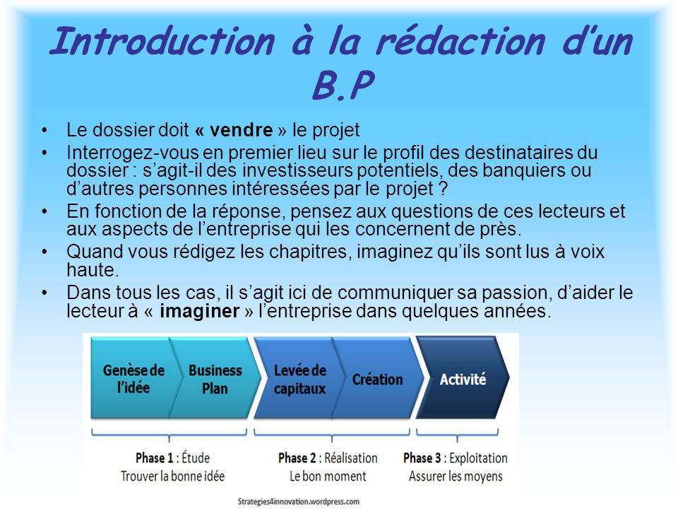 Introduction à la rédaction d'un B.P