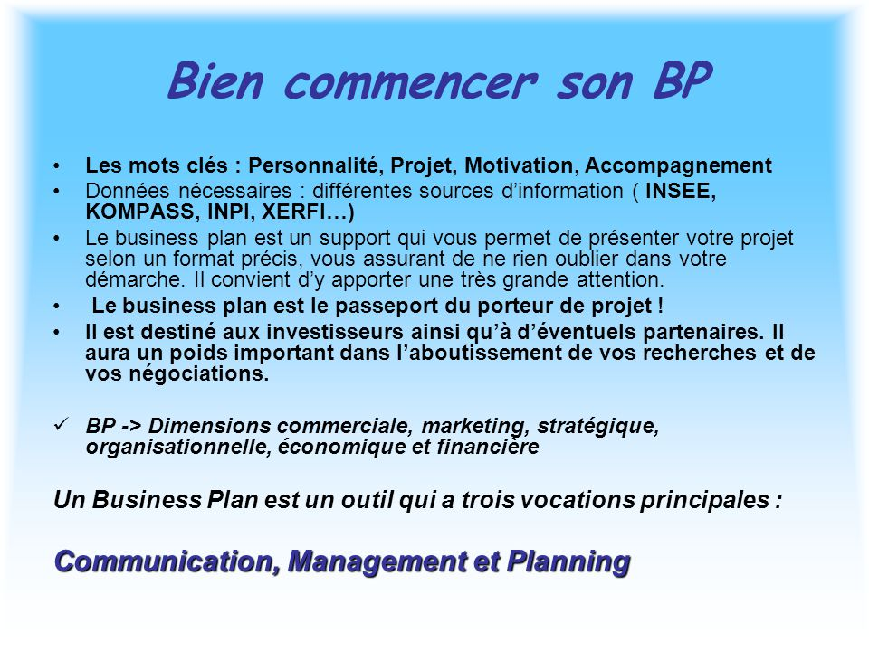 Bien commencer son BP Communication, Management et Planning