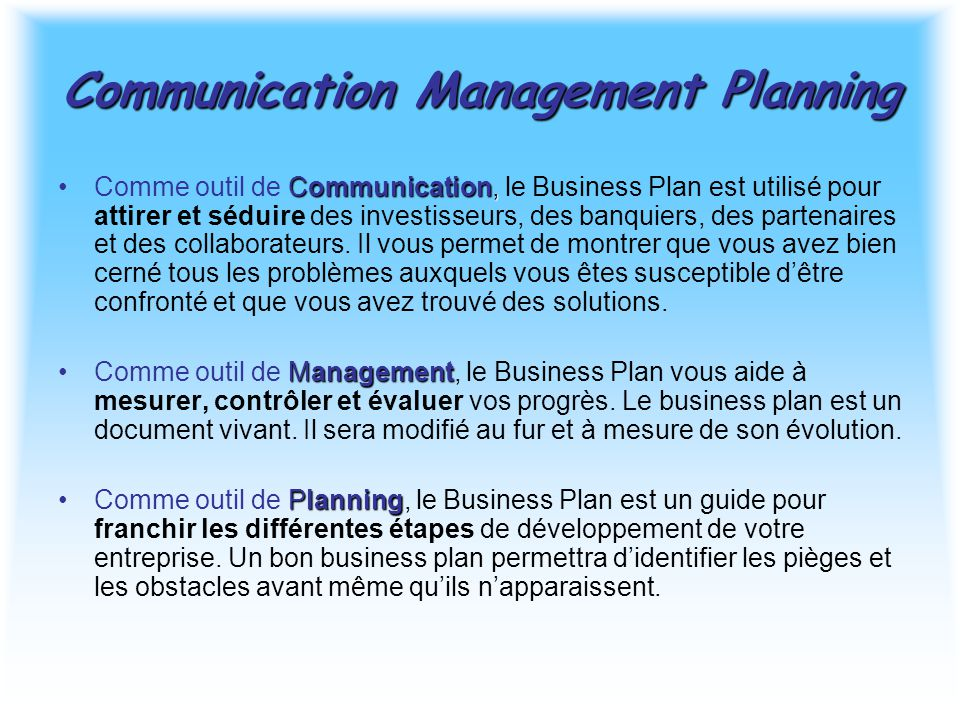 Communication Management Planning