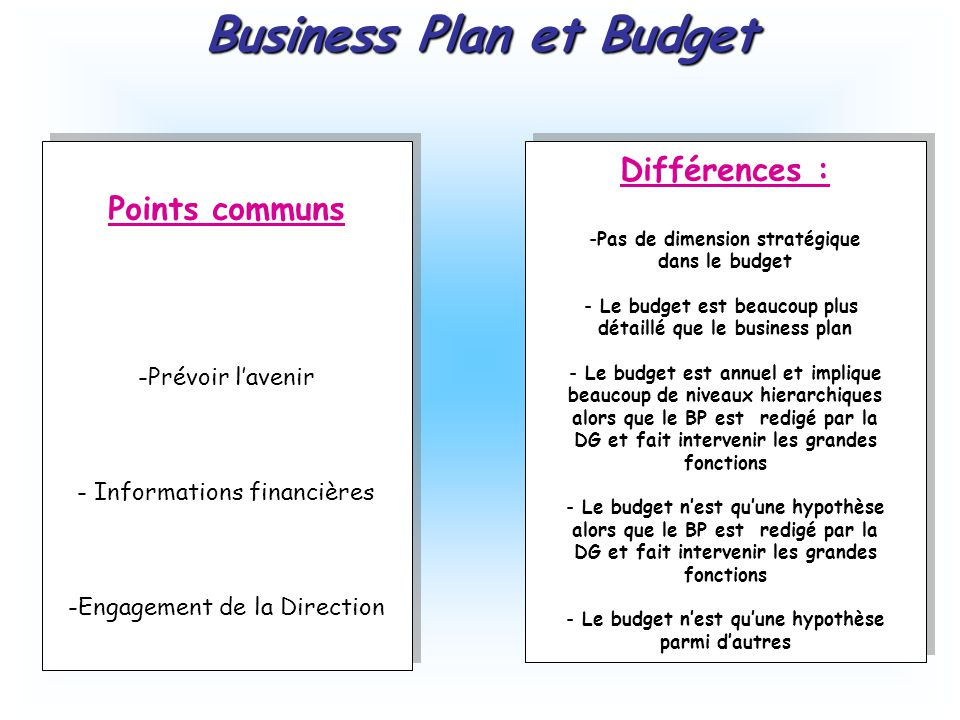 difference entre budget et business plan