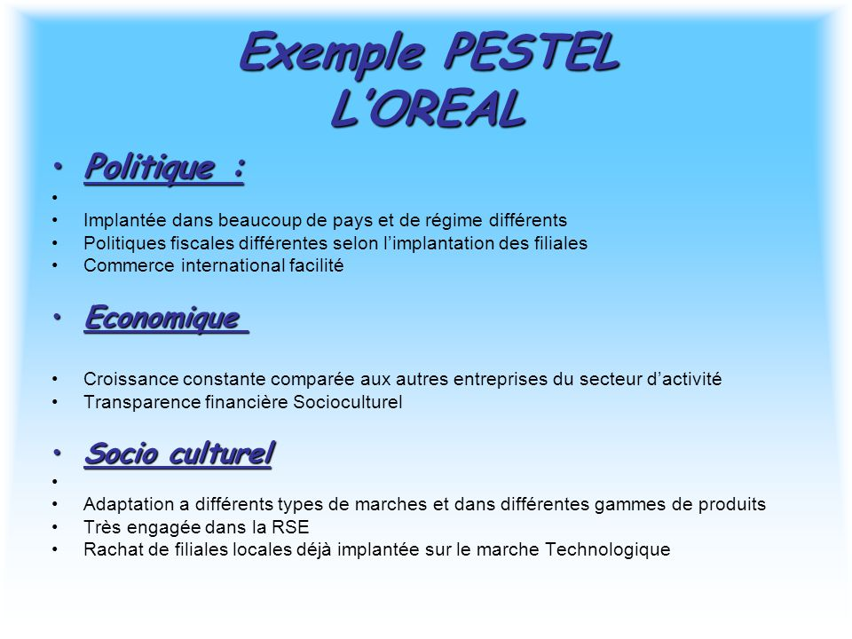 Exemple PESTEL L'OREAL