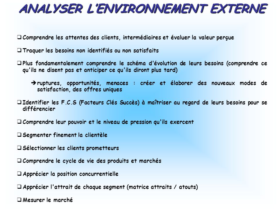 ANALYSER L'ENVIRONNEMENT EXTERNE