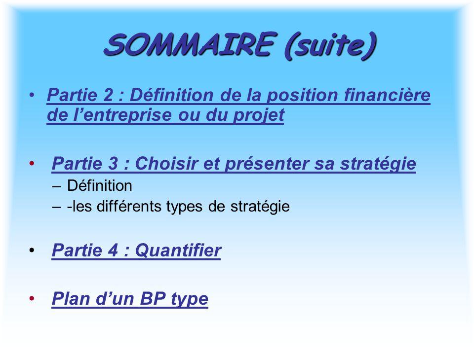 SOMMAIRE (suite) Partie 2 : Définition de la position financière de l'entreprise ou du projet. Partie 3 : Choisir et présenter sa stratégie.