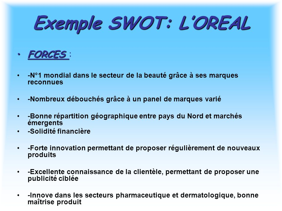 Exemple SWOT: L'OREAL FORCES :