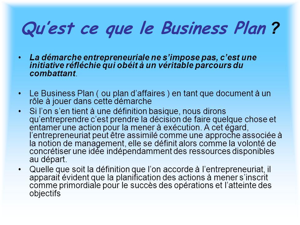 Qu'est ce que le Business Plan