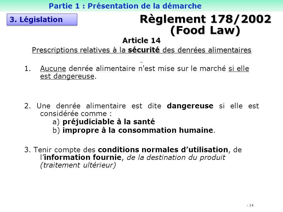 Prescriptions relatives à la sécurité des denrées alimentaires