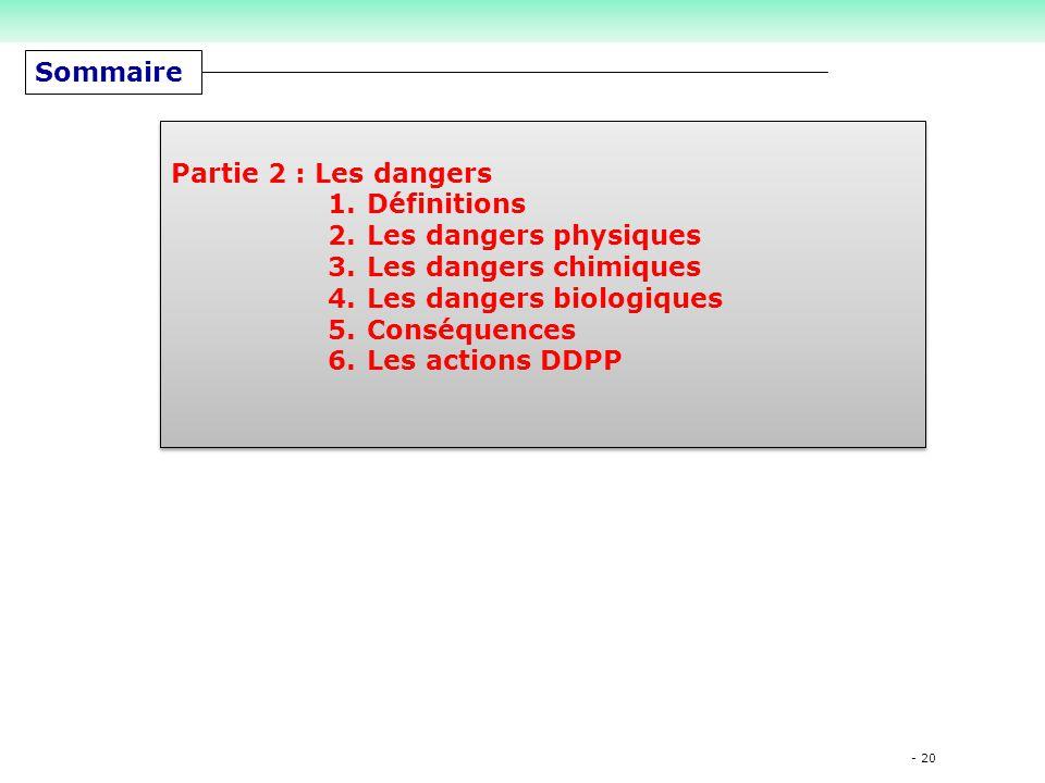 Les dangers biologiques Conséquences Les actions DDPP