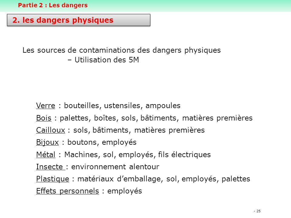 Les sources de contaminations des dangers physiques Utilisation des 5M