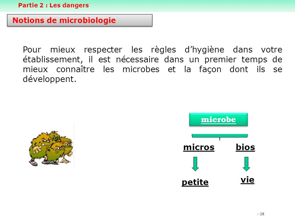 Partie 2 : Les dangers Notions de microbiologie.