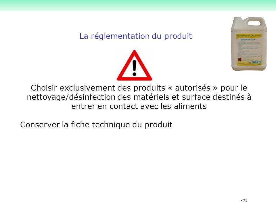 La réglementation du produit