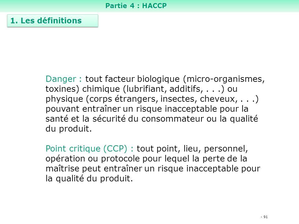 Partie 4 : HACCP 1. Les définitions.